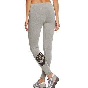 Nike Gray Leg-A-See Leggings Logo Sz XS